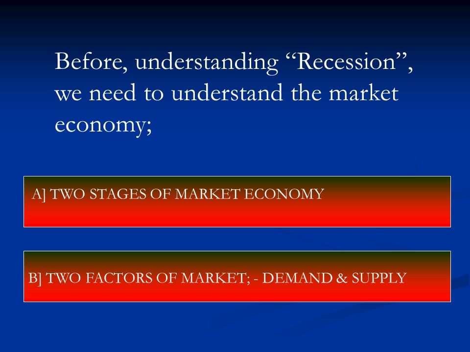 "Before, understanding ""Recession"", we need to understand the market economy; A] TWO STAGES OF MARKET ECONOMY B] TWO FACTORS OF MARKET; - DEMAND & SUPP"