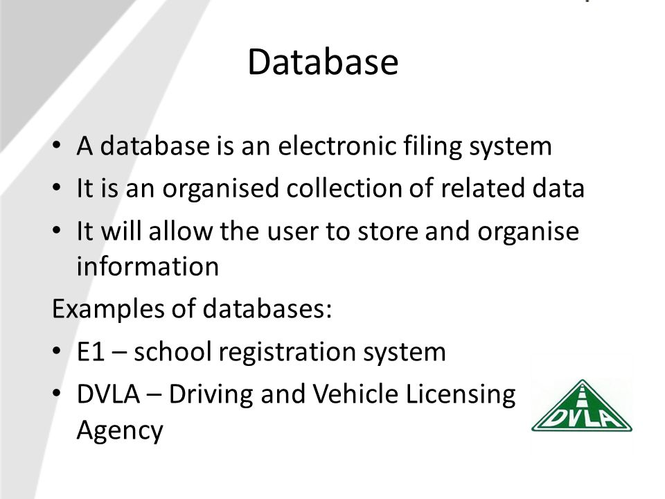 Microsoft Access This is the electronic database package we will use A table in a database looks like this: See page 17 of your notes