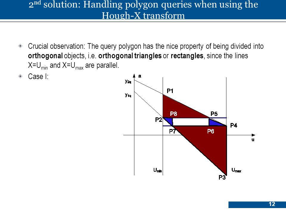 12 2 nd solution: Handling polygon queries when using the Hough-X transform Crucial observation: The query polygon has the nice property of being divided into orthogonal objects, i.e.