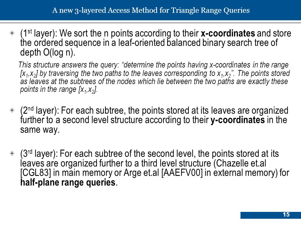 15 A new 3-layered Access Method for Triangle Range Queries (1 st layer): We sort the n points according to their x-coordinates and store the ordered sequence in a leaf-oriented balanced binary search tree of depth O(log n).