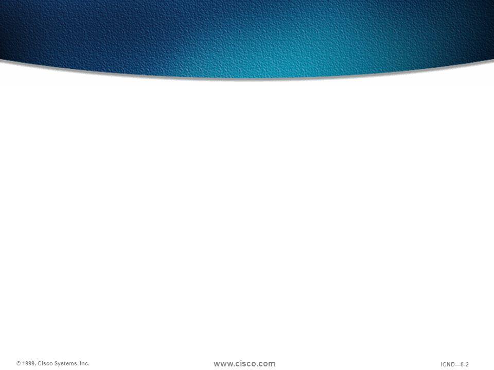 © 1999, Cisco Systems, Inc. www.cisco.com ICND—8-2