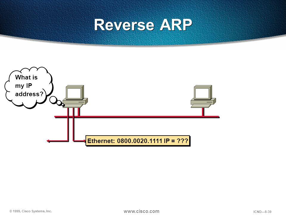 © 1999, Cisco Systems, Inc. www.cisco.com ICND—8-39 Reverse ARP Ethernet: 0800.0020.1111 IP = ??? What is my IP address?
