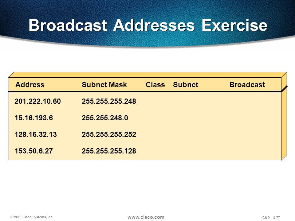 © 1999, Cisco Systems, Inc. www.cisco.com ICND—8-77 Broadcast Addresses Exercise AddressClassSubnetBroadcast 201.222.10.60255.255.255.248 Subnet Mask