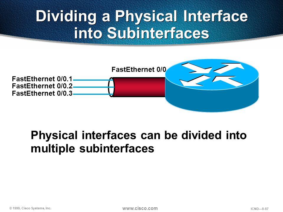 © 1999, Cisco Systems, Inc. www.cisco.com ICND—8-87 Dividing a Physical Interface into Subinterfaces FastEthernet 0/0 FastEthernet 0/0.2 FastEthernet