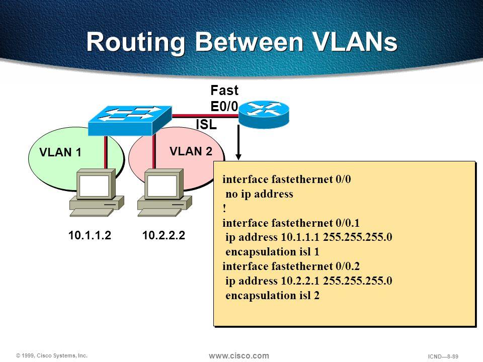 © 1999, Cisco Systems, Inc. www.cisco.com ICND—8-89 Routing Between VLANs VLAN 1 VLAN 2 ISL interface fastethernet 0/0 no ip address ! interface faste