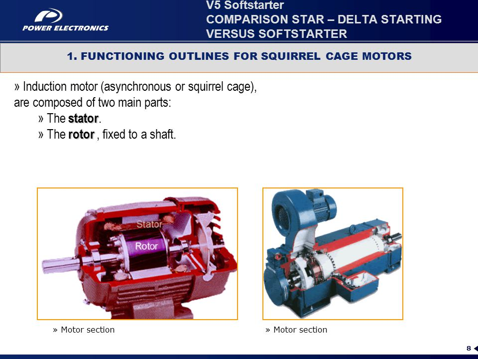 8 1. FUNCTIONING OUTLINES FOR SQUIRREL CAGE MOTORS » Induction motor (asynchronous or squirrel cage), are composed of two main parts: stator » The sta