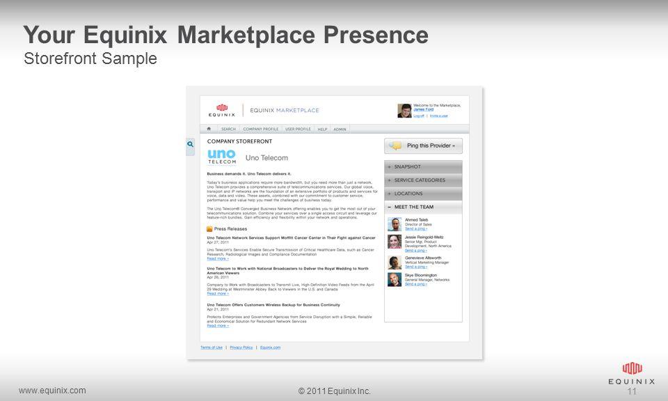 www.equinix.com © 2011 Equinix Inc. 11 Your Equinix Marketplace Presence Storefront Sample