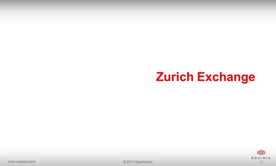 www.equinix.com © 2011 Equinix Inc. 13 Zurich Exchange