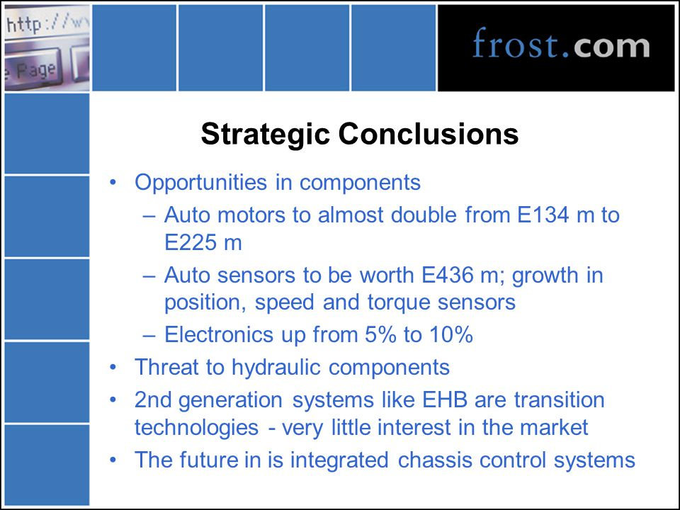 Strategic Conclusions Opportunities in components –Auto motors to almost double from E134 m to E225 m –Auto sensors to be worth E436 m; growth in posi