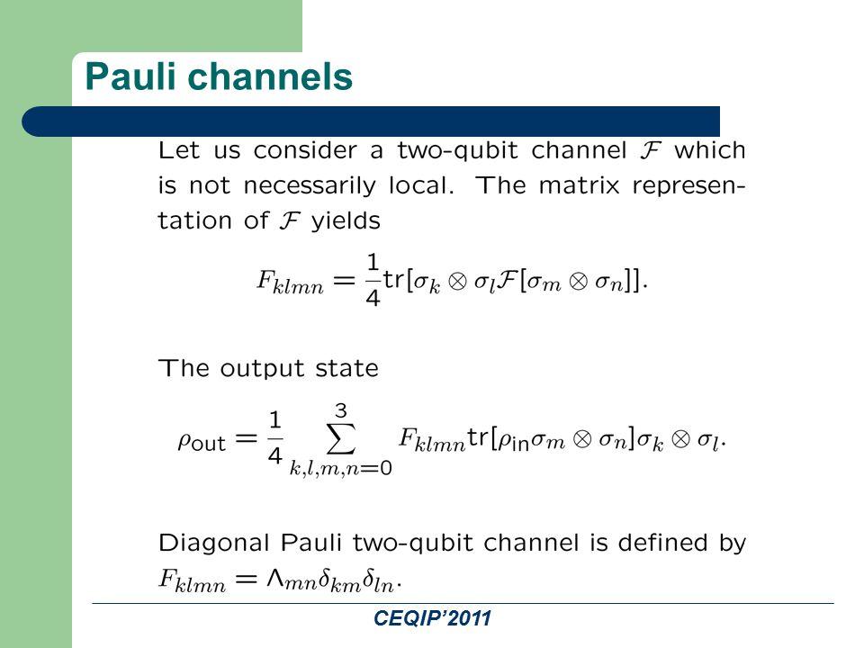 CEQIP'2011 Pauli channels