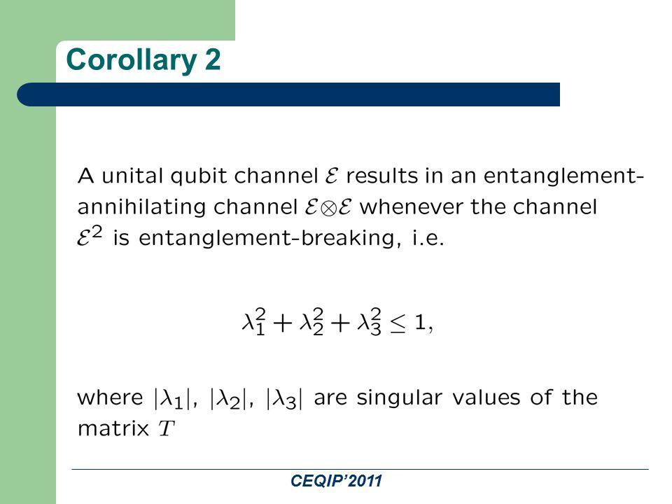 CEQIP'2011 Corollary 2