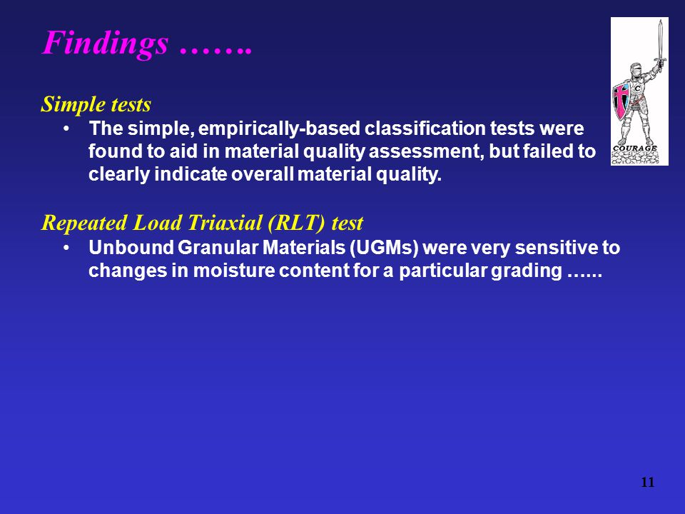 Simple tests The simple, empirically-based classification tests were found to aid in material quality assessment, but failed to clearly indicate overall material quality.