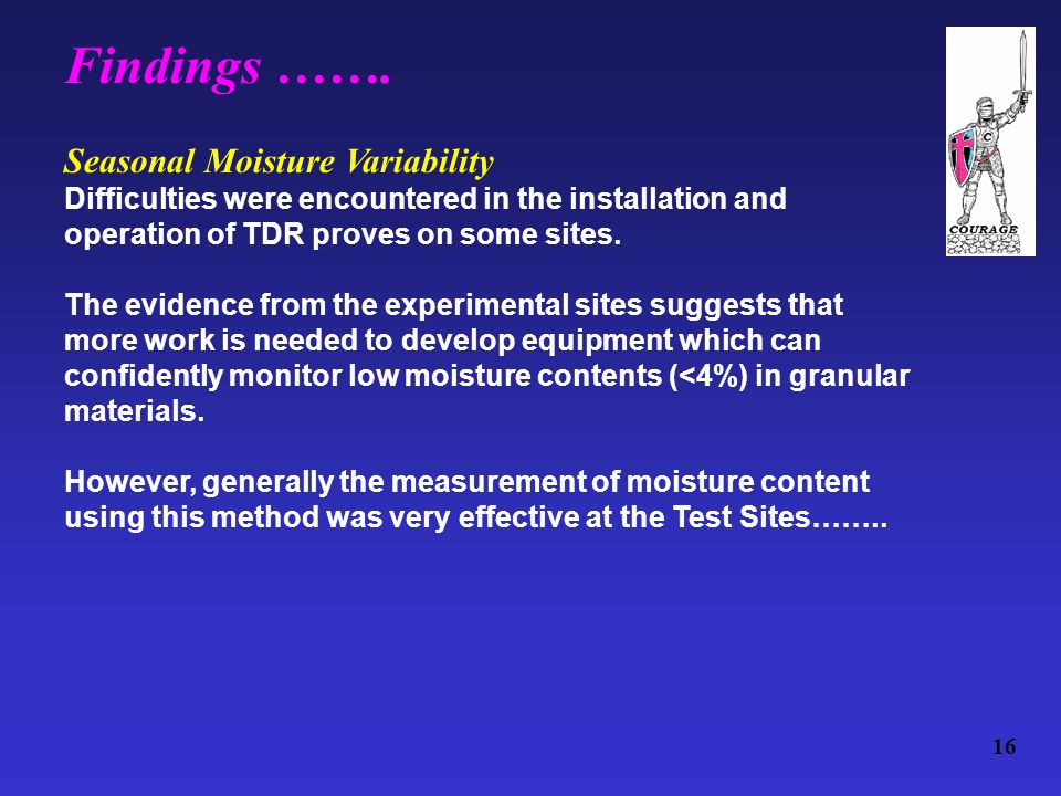 16 Seasonal Moisture Variability Difficulties were encountered in the installation and operation of TDR proves on some sites.