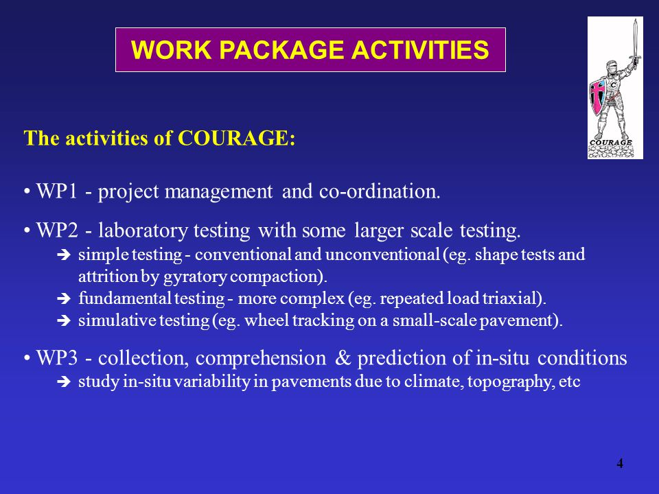 WORK PACKAGE ACTIVITIES 4 The activities of COURAGE: WP1 - project management and co-ordination.