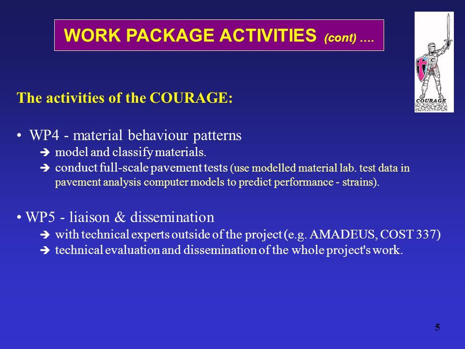 The activities of the COURAGE: WP4 - material behaviour patterns  model and classify materials.