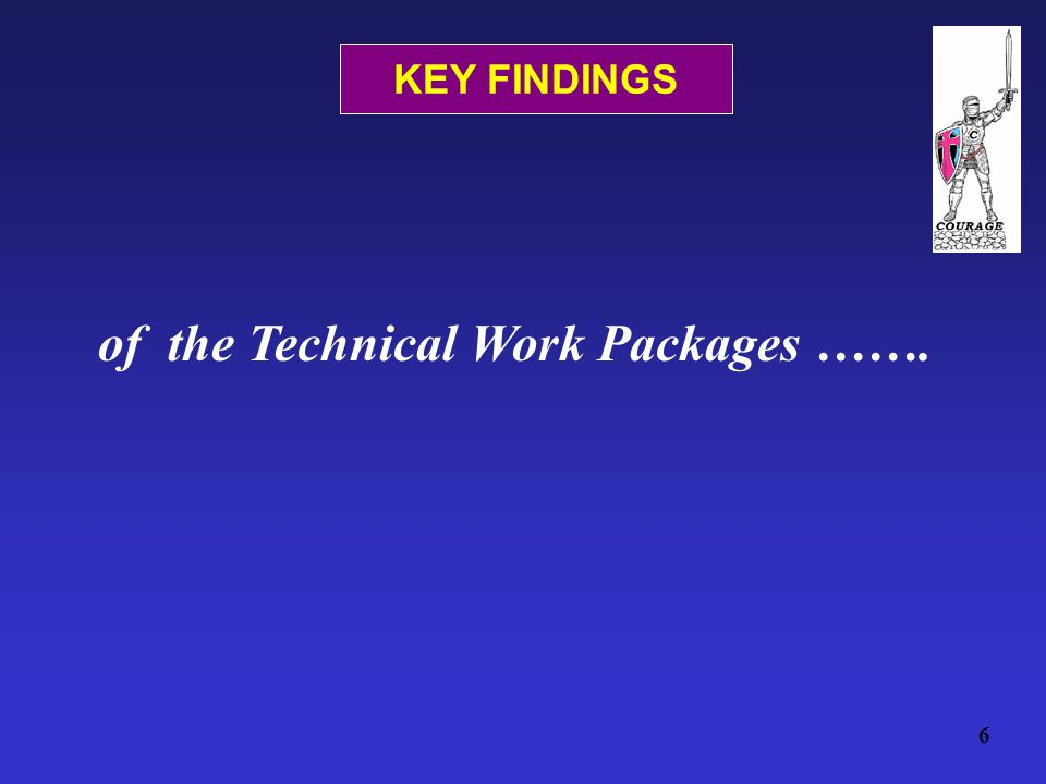 of the Technical Work Packages ……. 6 KEY FINDINGS