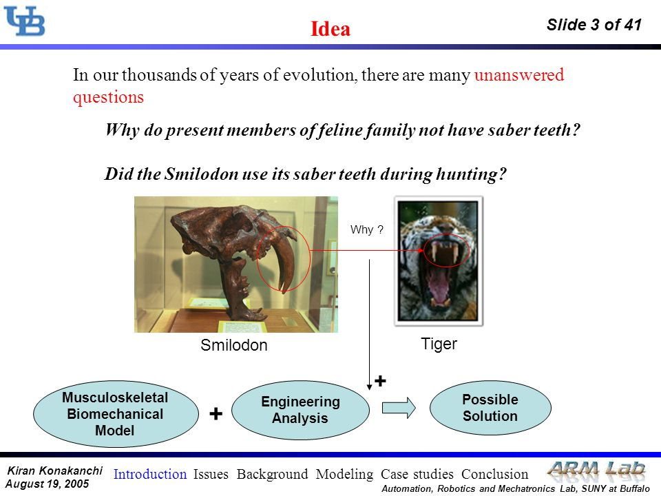 Kiran Konakanchi August 19, 2005 Automation, Robotics and Mechatronics Lab, SUNY at Buffalo Slide 3 of 41 Musculoskeletal Biomechanical Model Engineering Analysis + + Possible Solution In our thousands of years of evolution, there are many unanswered questions Why .
