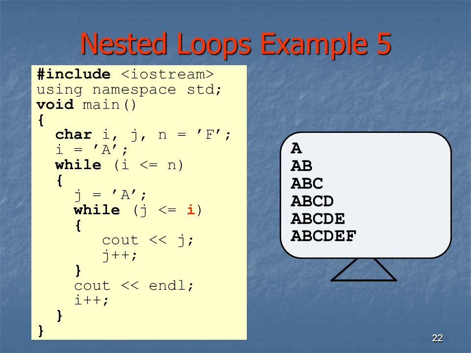 22 Nested Loops Example 5 A AB ABC ABCD ABCDE ABCDEF #include using namespace std; void main() { char i, j, n = 'F'; i = 'A'; while (i <= n) { j = 'A'