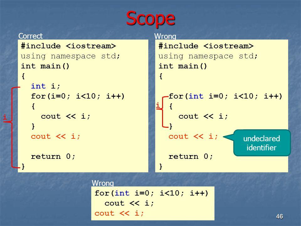 Scope 46 #include using namespace std; int main() { int i; for(i=0; i<10; i++) { cout << i; } cout << i; return 0; } #include using namespace std; int
