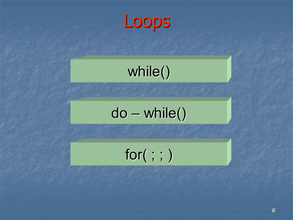 7 The while() Loop while ( ) while ( ) ; ; Condition LoopBody true false