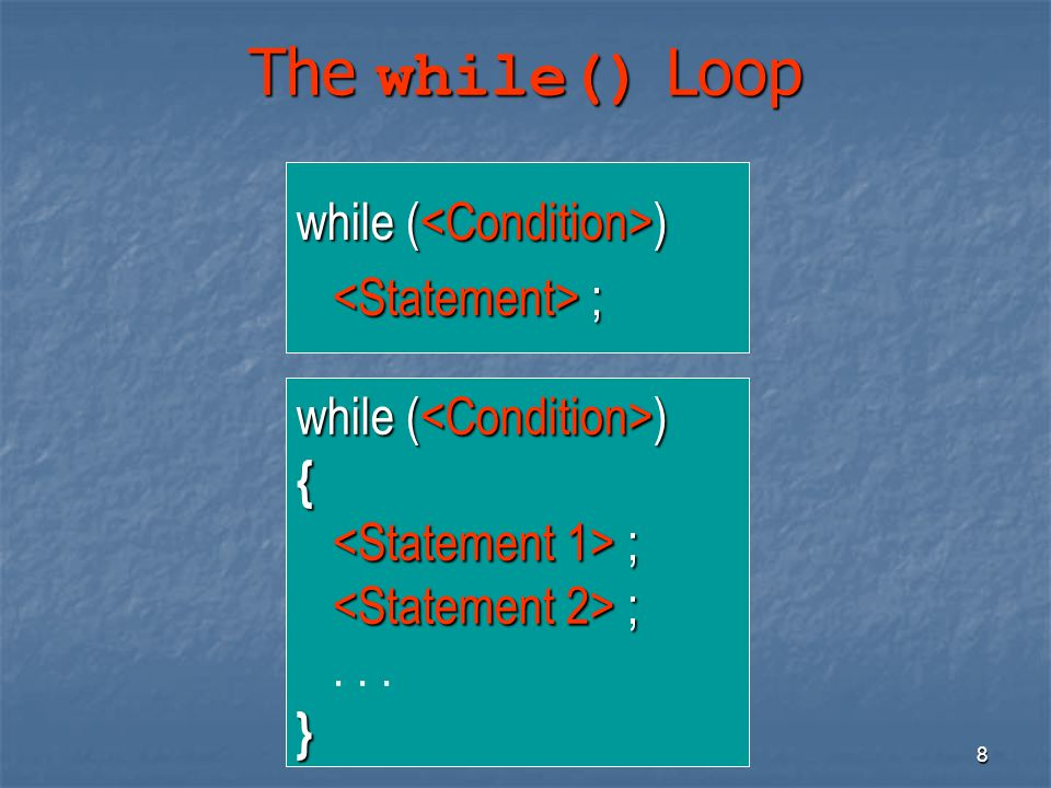 19 Nested Loops Example 2 11111 22222 33333 44444 55555 #include using namespace std; void main() { int i, j, n = 5; i = 1; while (i <= n) { j = 1; while (j <= n) { cout << i; j++; } cout << endl; i++; }