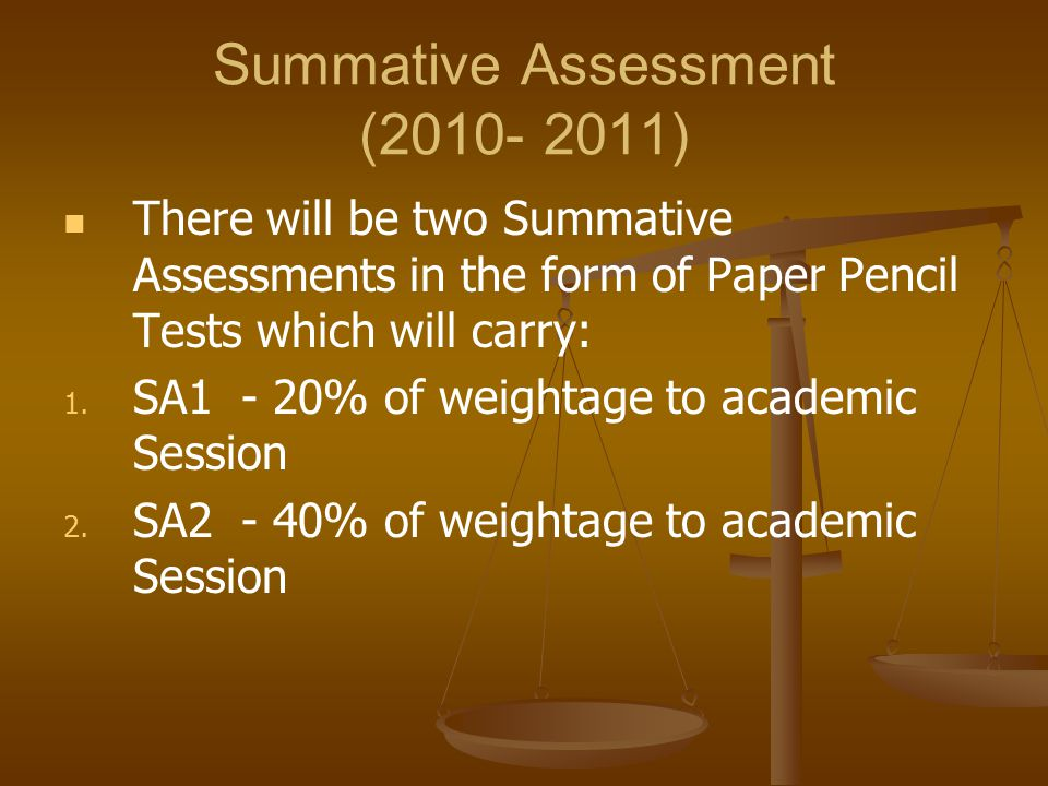 Summative Assessment (2010- 2011) There will be two Summative Assessments in the form of Paper Pencil Tests which will carry: 1.