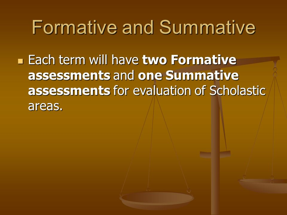 Formative and Summative Each term will have two Formative assessments and one Summative assessments for evaluation of Scholastic areas.