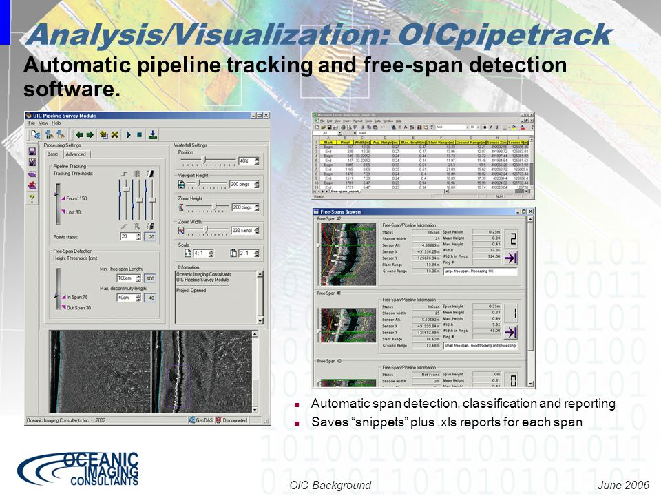 June 2006 OIC Background Automatic pipeline tracking and free-span detection software. Analysis/Visualization: OICpipetrack Automatic span detection,