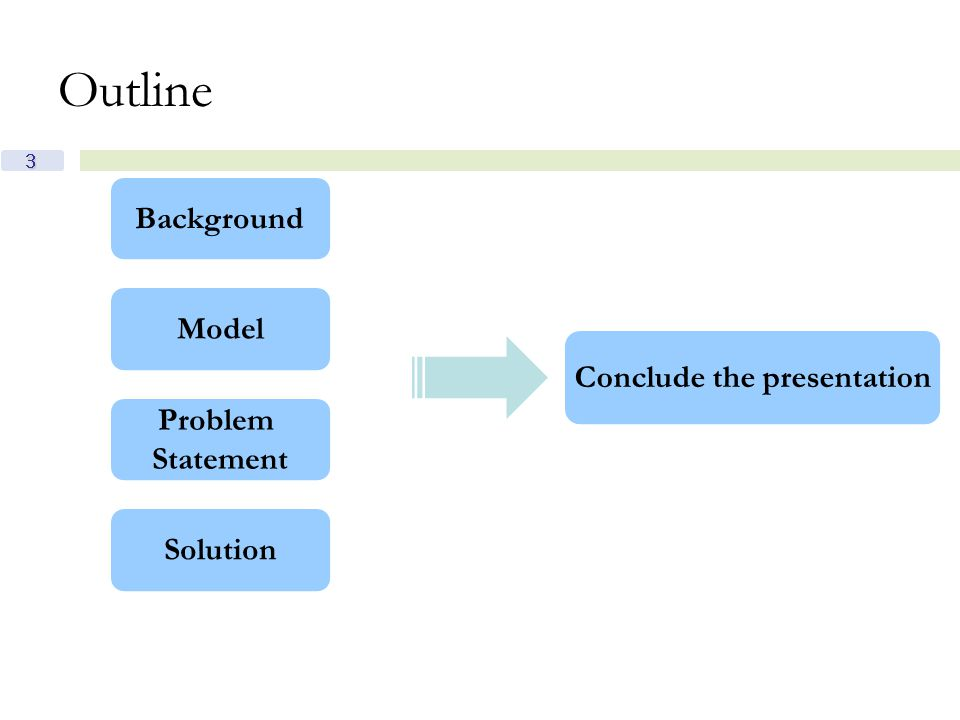 3 Outline Background Model Problem Statement Conclude the presentation Solution