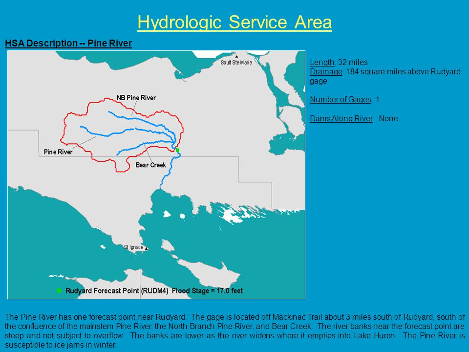 HSA Description -- Pine River Hydrologic Service Area Length: 32 miles Drainage: 184 square miles above Rudyard gage Number of Gages: 1 Dams Along River: None The Pine River has one forecast point near Rudyard.
