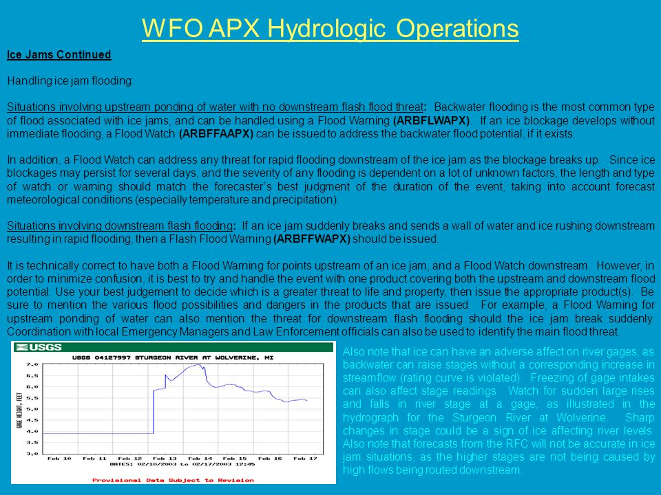 WFO APX Hydrologic Operations Ice Jams Continued Handling ice jam flooding: Situations involving upstream ponding of water with no downstream flash flood threat: Backwater flooding is the most common type of flood associated with ice jams, and can be handled using a Flood Warning (ARBFLWAPX).