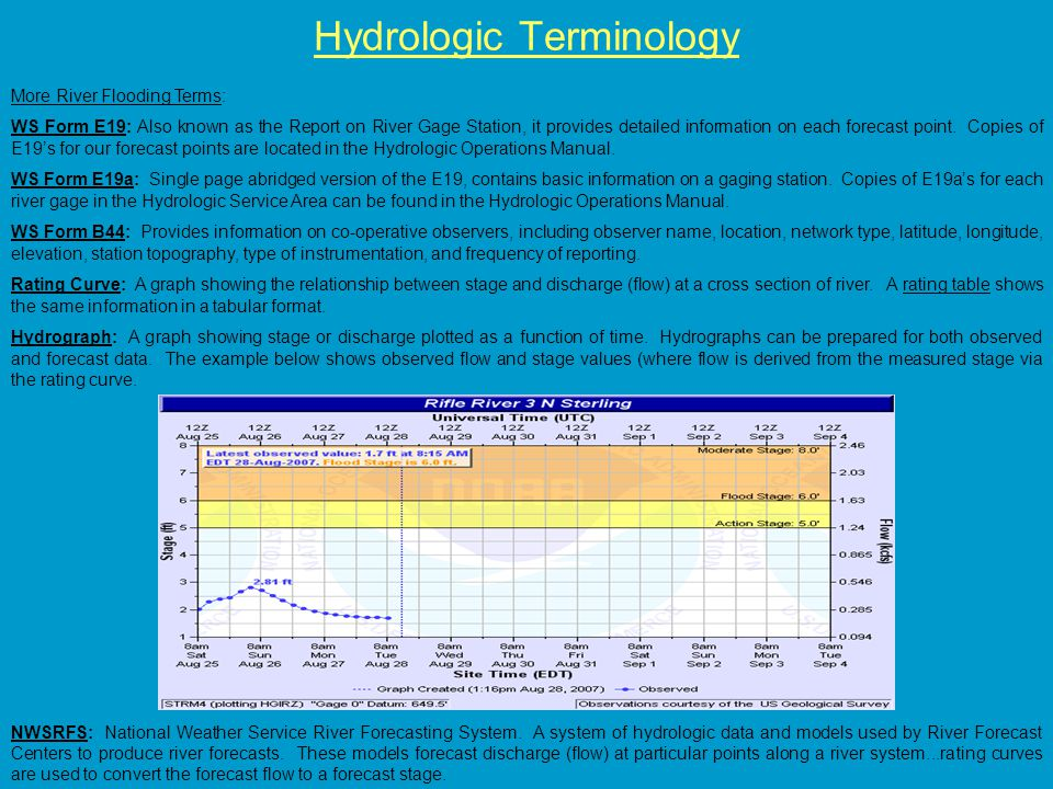 Hydrologic Terminology More River Flooding Terms: WS Form E19: Also known as the Report on River Gage Station, it provides detailed information on each forecast point.