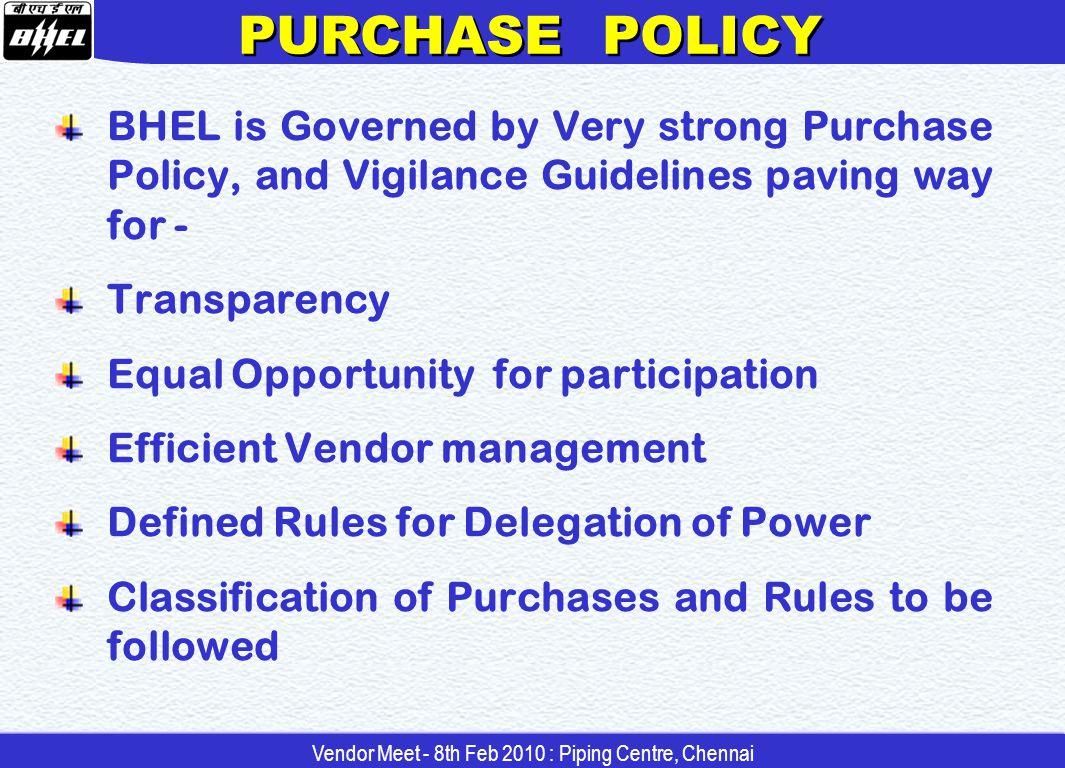 YEAR FINANCIAL TURNOVER GROWTH Vendor Meet - 8th Feb 2010 : Piping Centre, Chennai