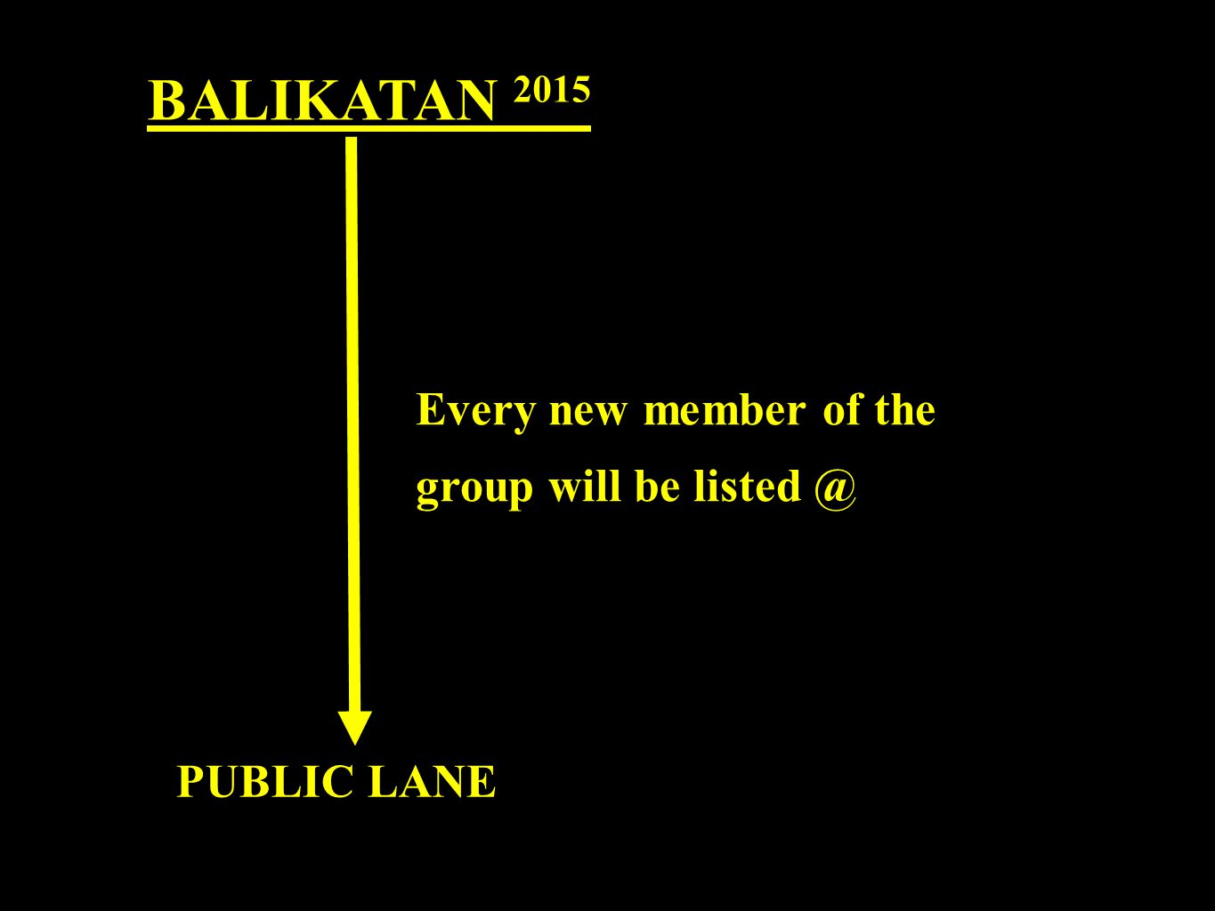 BALIKATAN 2015 Every new member of the group will be listed @ PUBLIC LANE