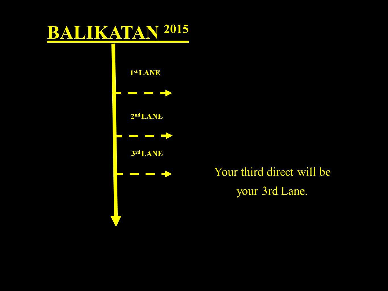 BALIKATAN 2015 1 st LANE 2 nd LANE 3 rd LANE Your third direct will be your 3rd Lane.