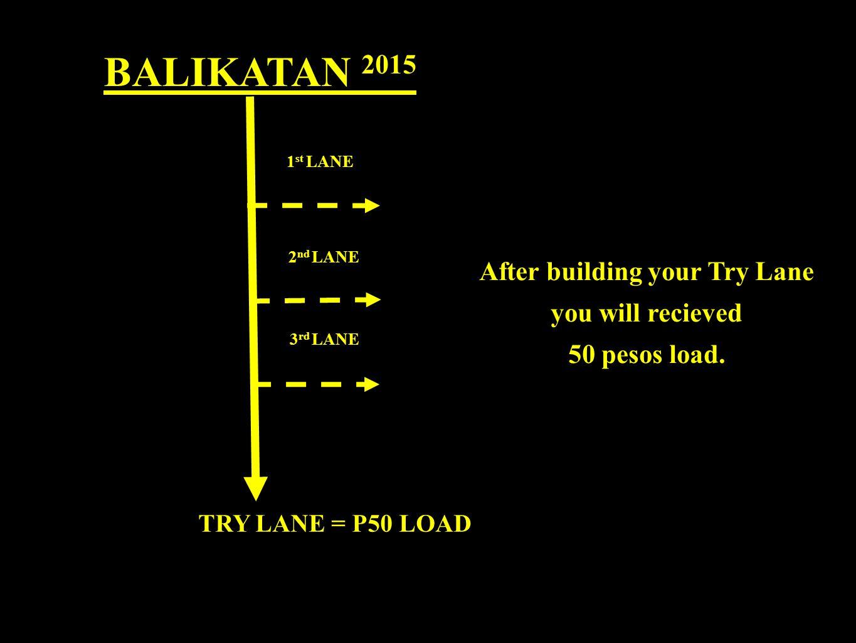 BALIKATAN 2015 1 st LANE 2 nd LANE 3 rd LANE TRY LANE = P50 LOAD After building your Try Lane you will recieved 50 pesos load.