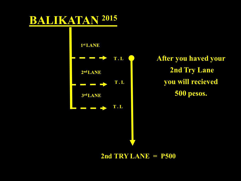 BALIKATAN 2015 2nd TRY LANE = P500 1 st LANE 2 nd LANE 3 rd LANE T.