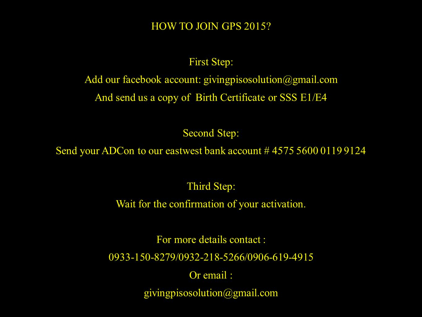 HOW TO JOIN GPS 2015.