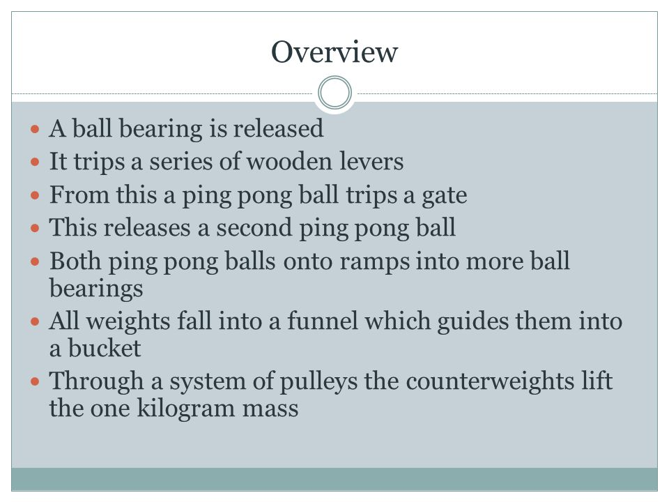 Overview A ball bearing is released It trips a series of wooden levers From this a ping pong ball trips a gate This releases a second ping pong ball Both ping pong balls onto ramps into more ball bearings All weights fall into a funnel which guides them into a bucket Through a system of pulleys the counterweights lift the one kilogram mass