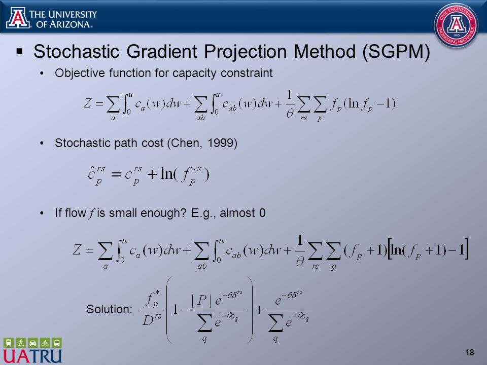  Stochastic Gradient Projection Method (SGPM) Objective function for capacity constraint Stochastic path cost (Chen, 1999) If flow f is small enough.