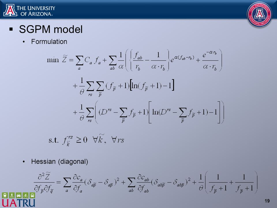  SGPM model Formulation Hessian (diagonal) 19