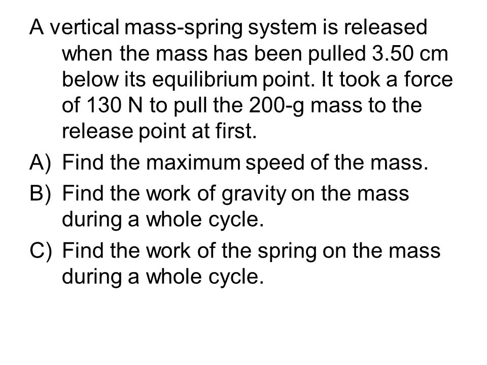 A vertical mass-spring system is released when the mass has been pulled 3.50 cm below its equilibrium point.