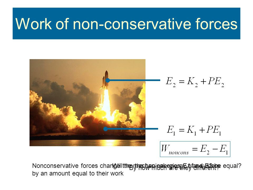 Work of non-conservative forces Will the the two energies E1 and E2 be equal.