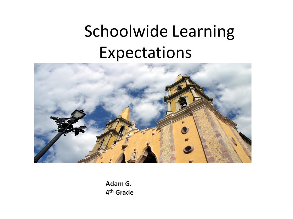 Schoolwide Learning Expectations Adam G. 4 th Grade