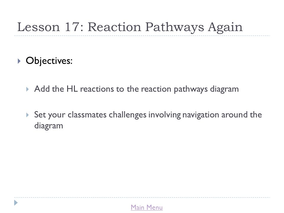 Main Menu Lesson 17: Reaction Pathways Again  Objectives:  Add the HL reactions to the reaction pathways diagram  Set your classmates challenges involving navigation around the diagram