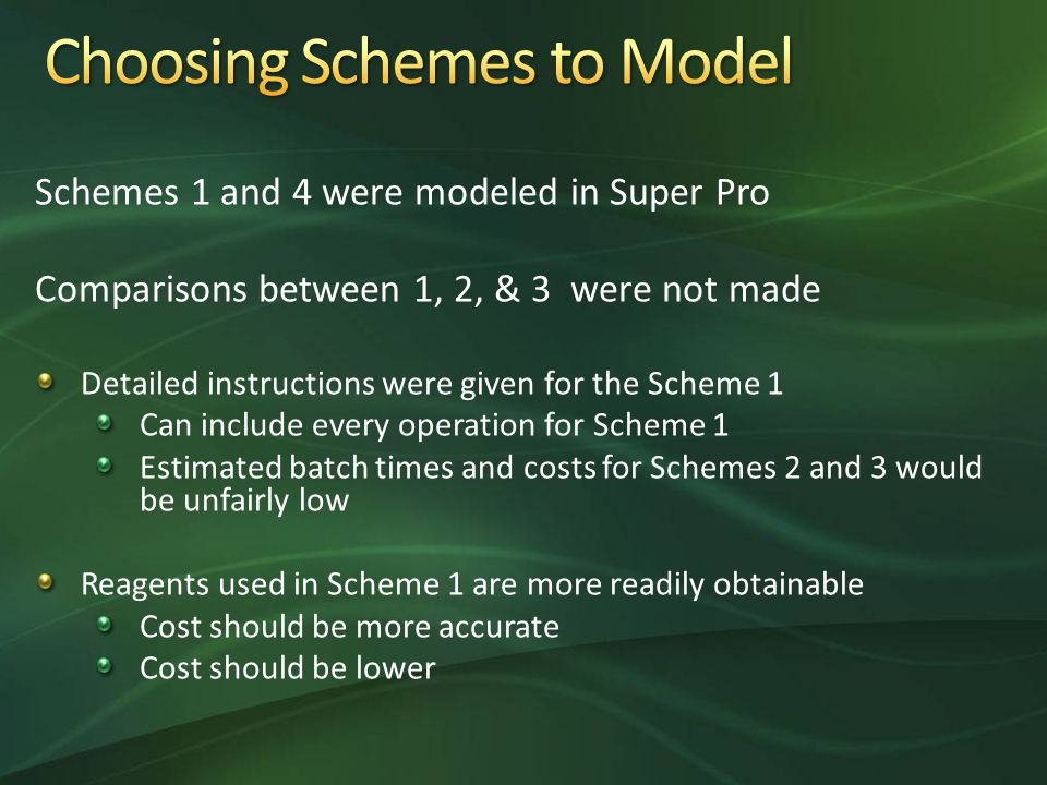 Schemes 1 and 4 were modeled in Super Pro Comparisons between 1, 2, & 3 were not made Detailed instructions were given for the Scheme 1 Can include every operation for Scheme 1 Estimated batch times and costs for Schemes 2 and 3 would be unfairly low Reagents used in Scheme 1 are more readily obtainable Cost should be more accurate Cost should be lower