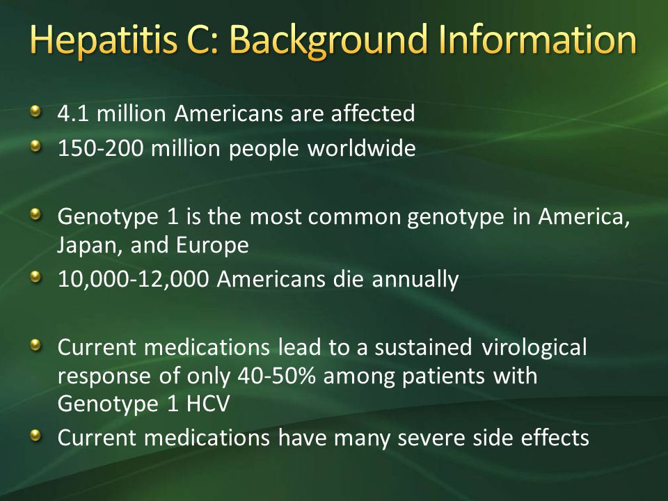 4.1 million Americans are affected 150-200 million people worldwide Genotype 1 is the most common genotype in America, Japan, and Europe 10,000-12,000 Americans die annually Current medications lead to a sustained virological response of only 40-50% among patients with Genotype 1 HCV Current medications have many severe side effects