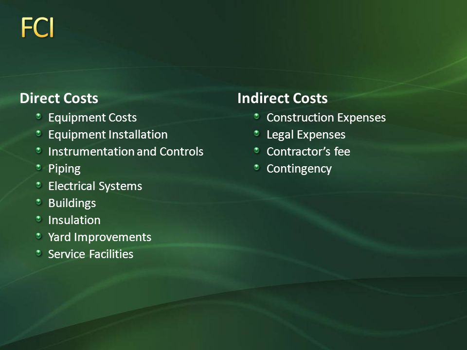 Direct Costs Equipment Costs Equipment Installation Instrumentation and Controls Piping Electrical Systems Buildings Insulation Yard Improvements Service Facilities Indirect Costs Construction Expenses Legal Expenses Contractor's fee Contingency