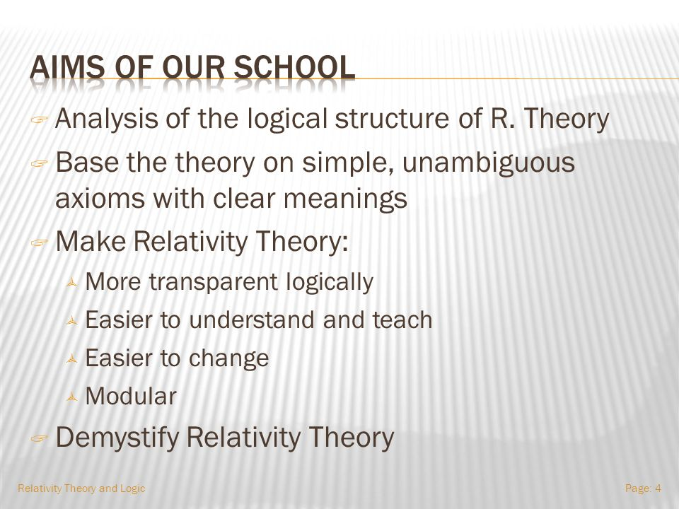 Relativity Theory and LogicPage: 44 The same as for SpecRel. Recall that