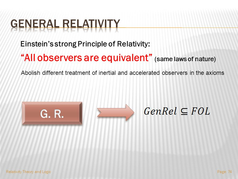 General Relativity Relativity Theory and LogicPage: 73